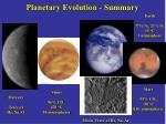planetary evolution summary