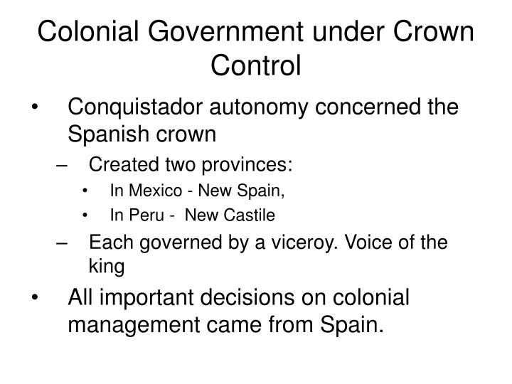 Colonial Government under Crown Control
