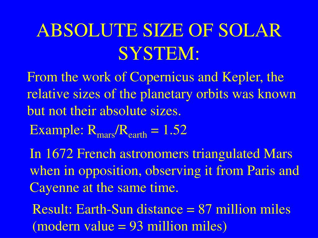 ABSOLUTE SIZE OF SOLAR SYSTEM: