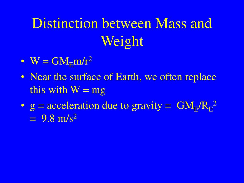Distinction between Mass and Weight