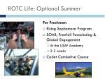 rotc life optional summer