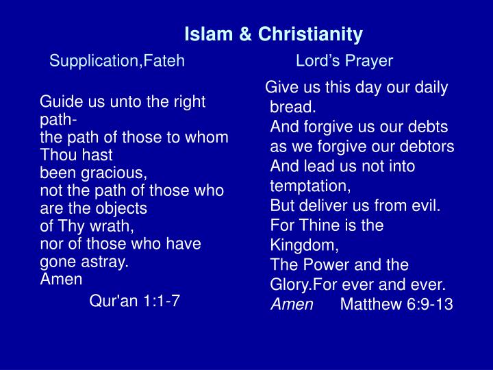 Islam christianity supplication fateh lord s prayer
