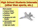 high school students interests other than sports etc
