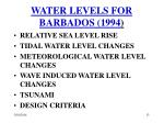 water levels for barbados 1994