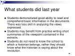 what students did last year