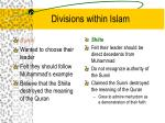 divisions within islam