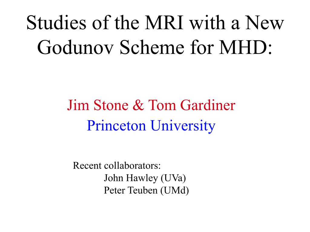 studies of the mri with a new godunov scheme for mhd l.