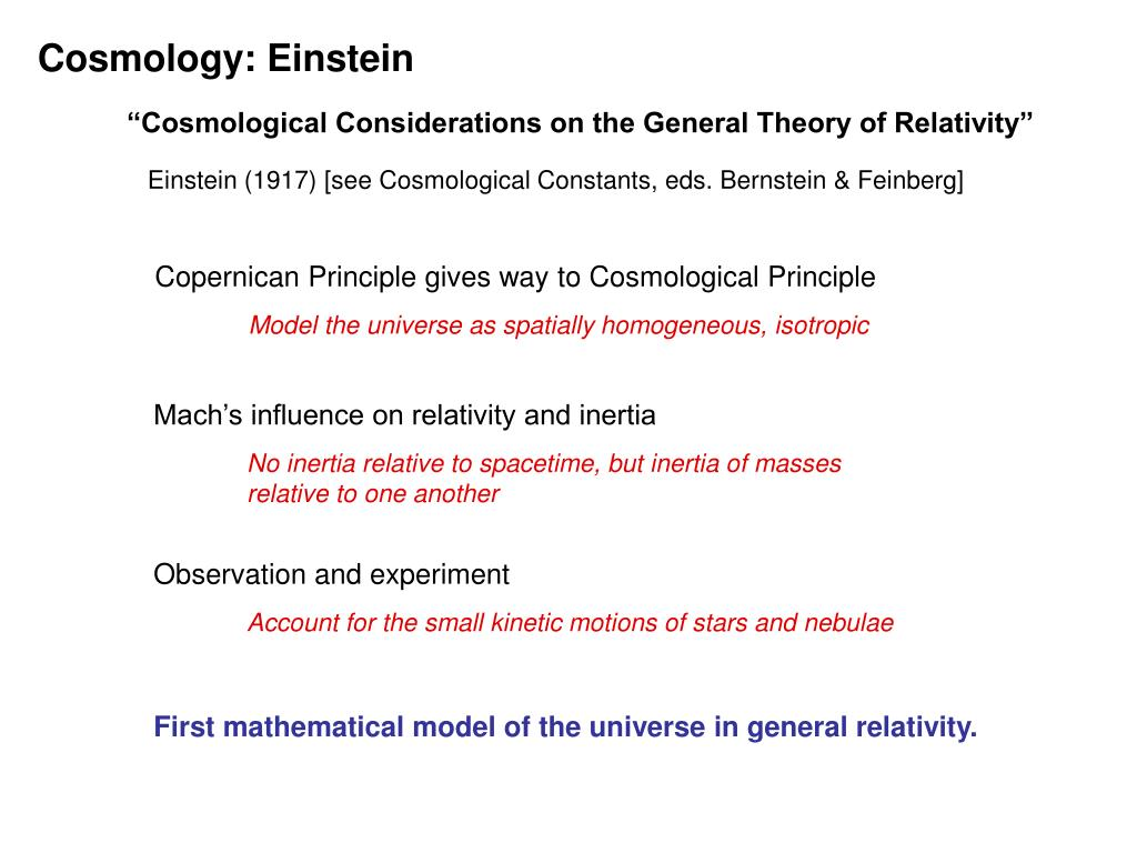 Cosmology: Einstein