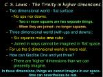 c s lewis the trinity in higher dimensions