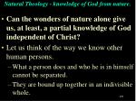 natural theology knowledge of god from nature