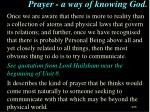 prayer a way of knowing god
