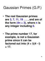 gaussian primes g p