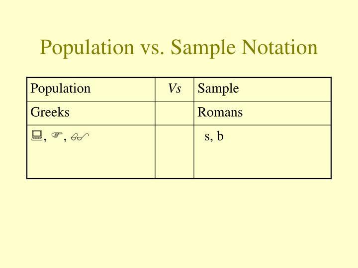 Population vs sample notation