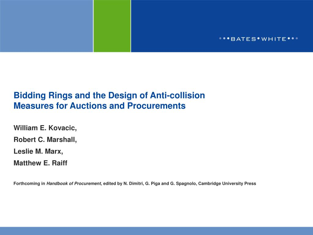 bidding rings and the design of anti collision measures for auctions and procurements l.