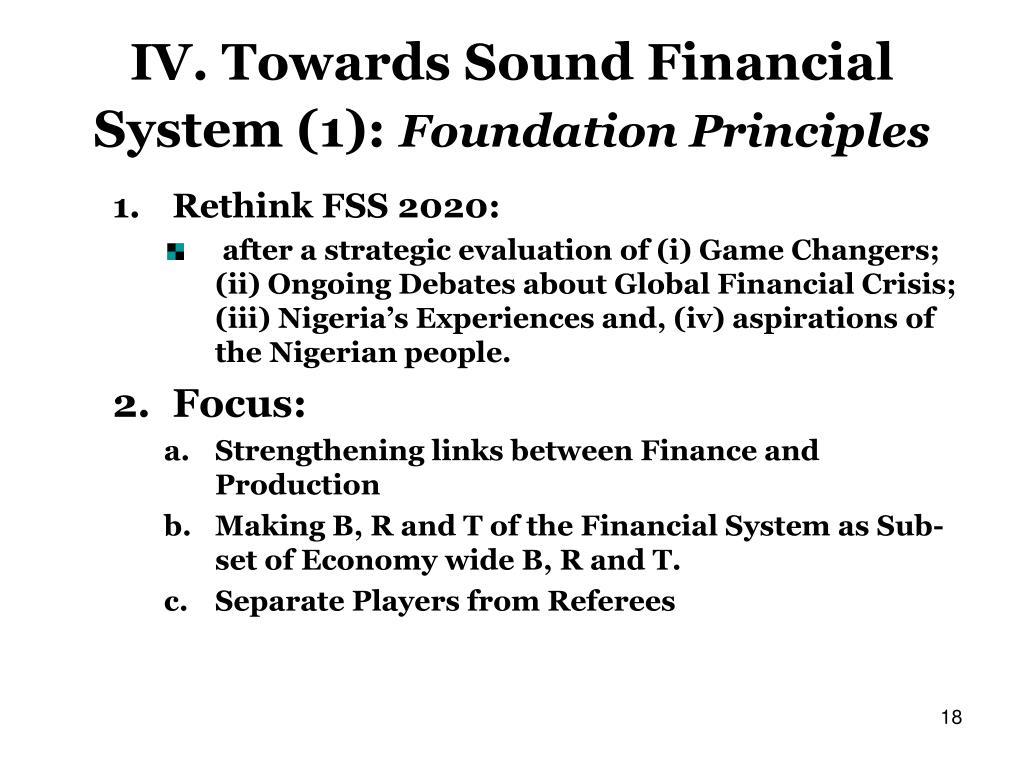 IV. Towards Sound Financial System (1):
