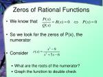 zeros of rational functions
