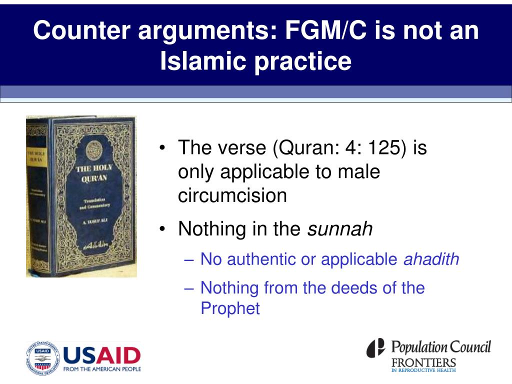 Counter arguments: FGM/C is not an Islamic practice