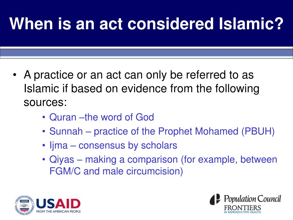 When is an act considered Islamic?