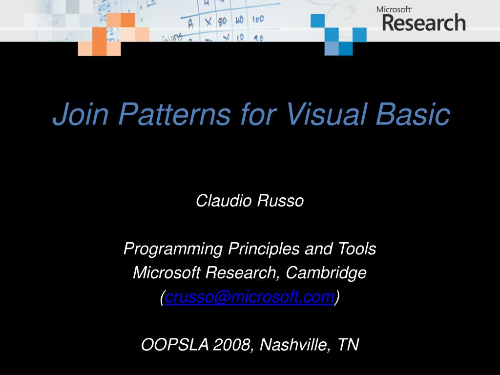 join patterns for visual basic l.