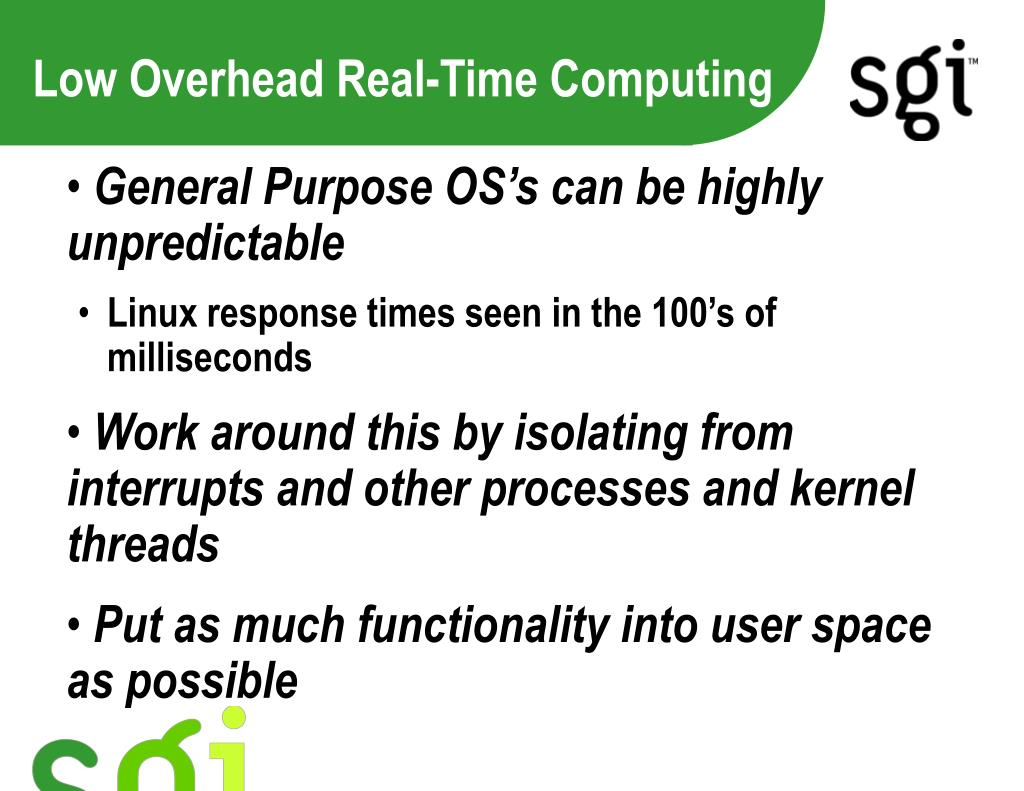 low overhead real time computing l.