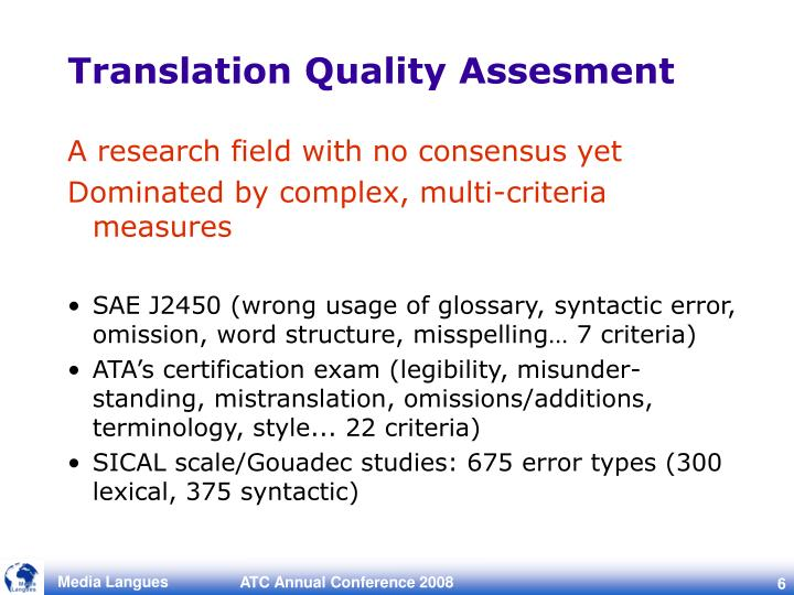Translation Quality Assesment
