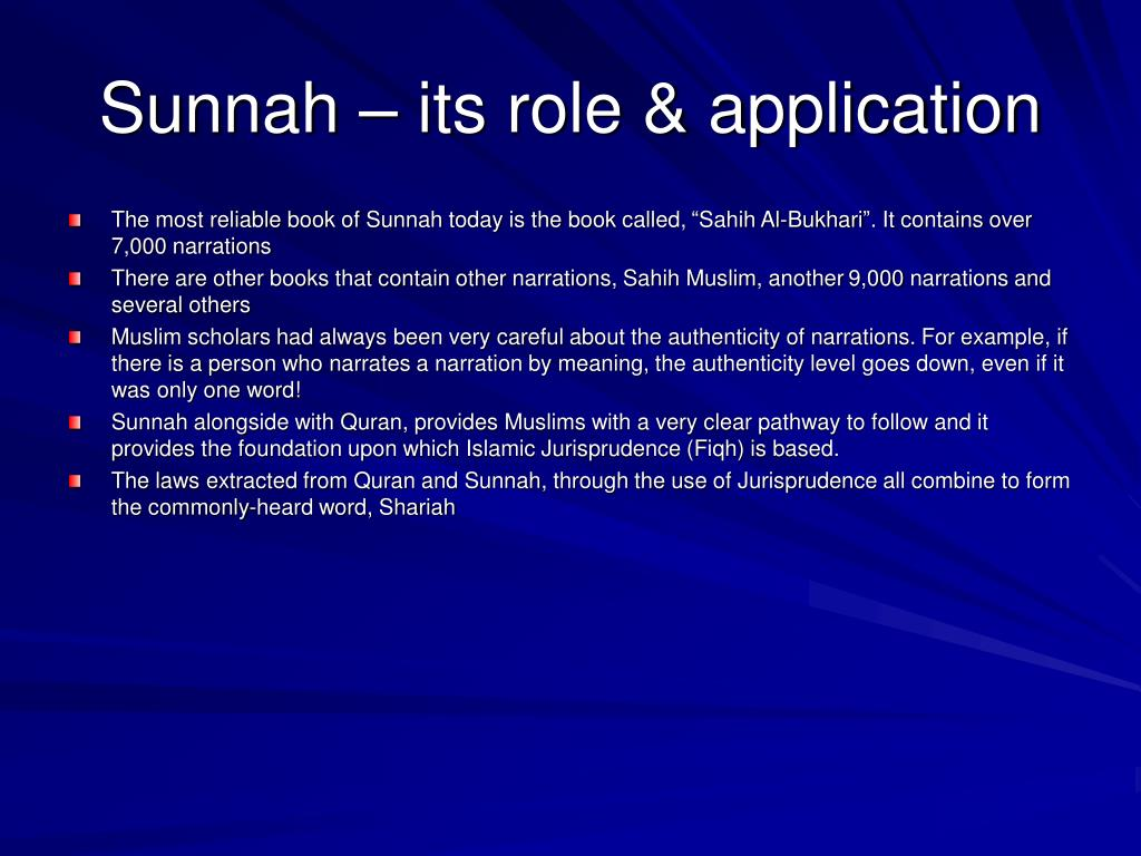 Sunnah – its role & application