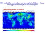 no 2 emitted by combustion has atmospheric lifetime 1 day strong gradients away from source regions