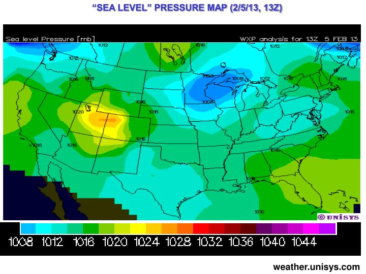 """SEA LEVEL"" PRESSURE MAP (2/5/13, 13Z)"