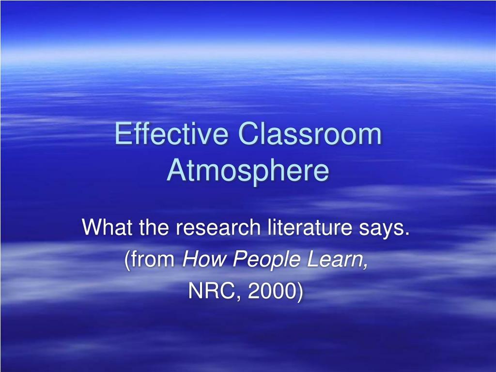Effective Classroom Atmosphere