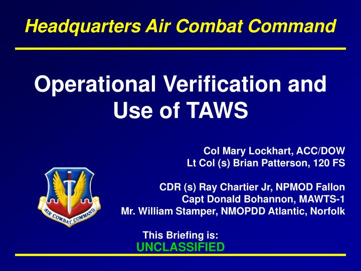 operational verification and use of taws n.