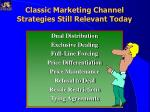 classic marketing channel strategies still relevant today