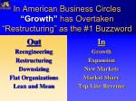 in american business circles growth has overtaken restructuring as the 1 buzzword