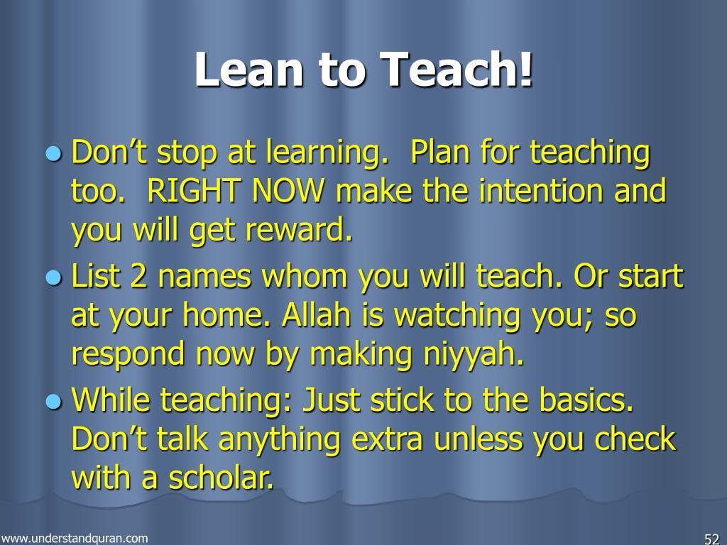Lean to Teach!
