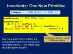 invariants one new primitive