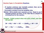reaction types a precipitation reactions