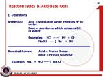 reaction types b acid base rxns