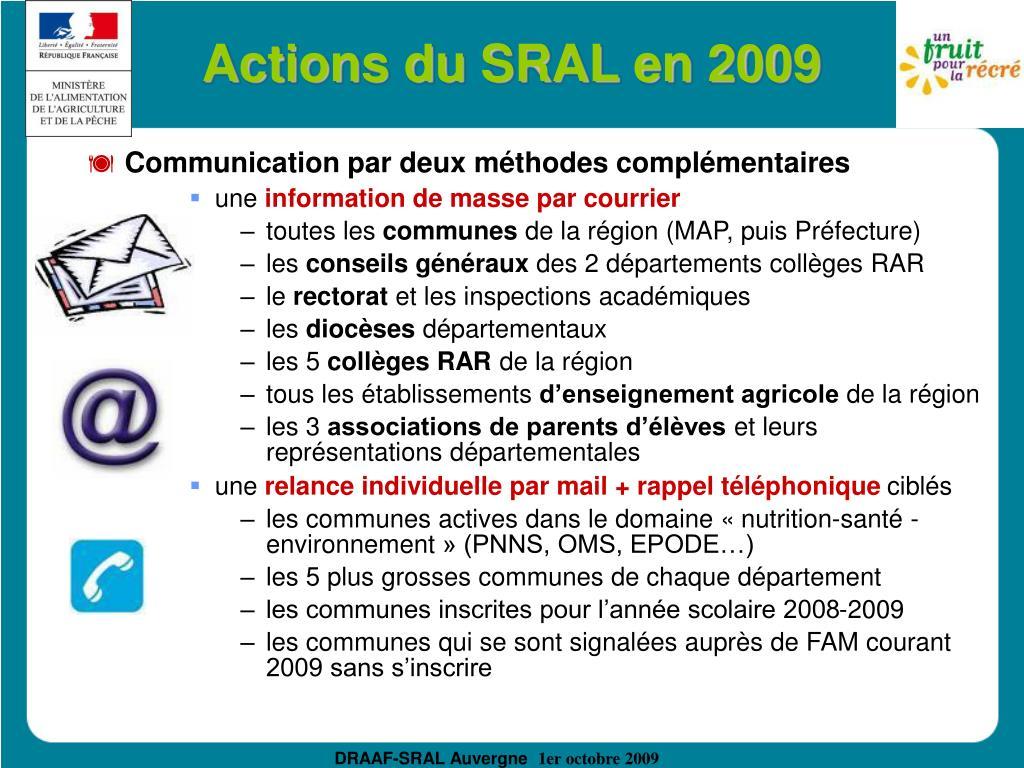 Actions du SRAL en 2009