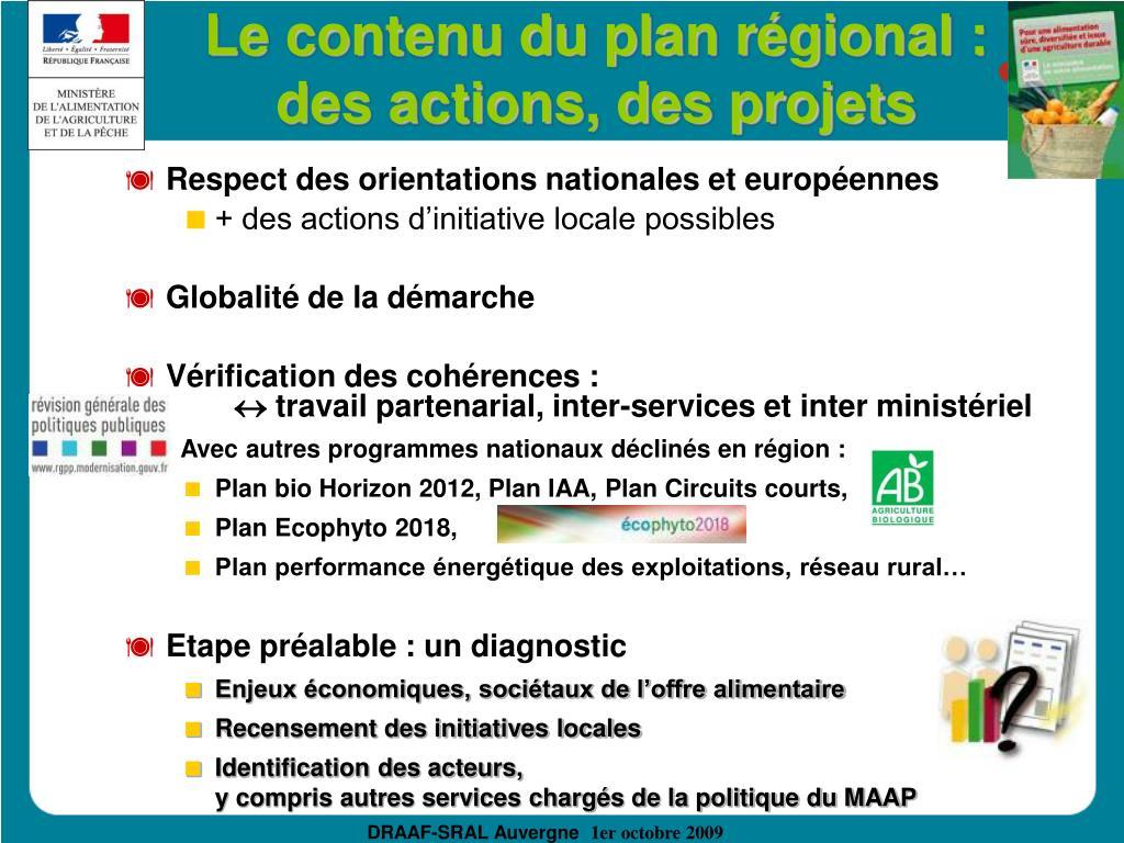 Le contenu du plan régional : des actions, des projets