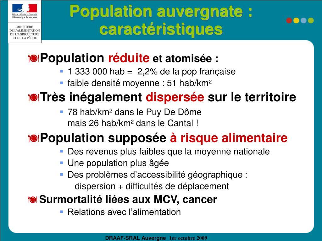 Population auvergnate :  caractéristiques