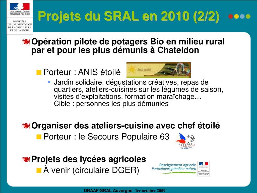 Projets du SRAL en 2010 (2/2)