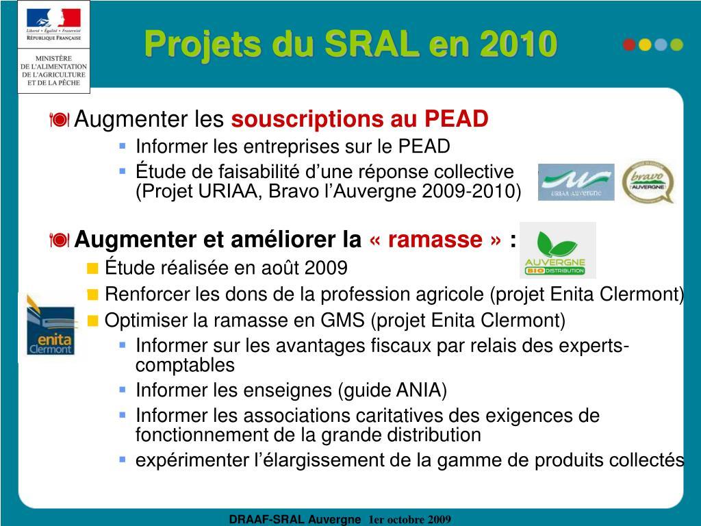 Projets du SRAL en 2010