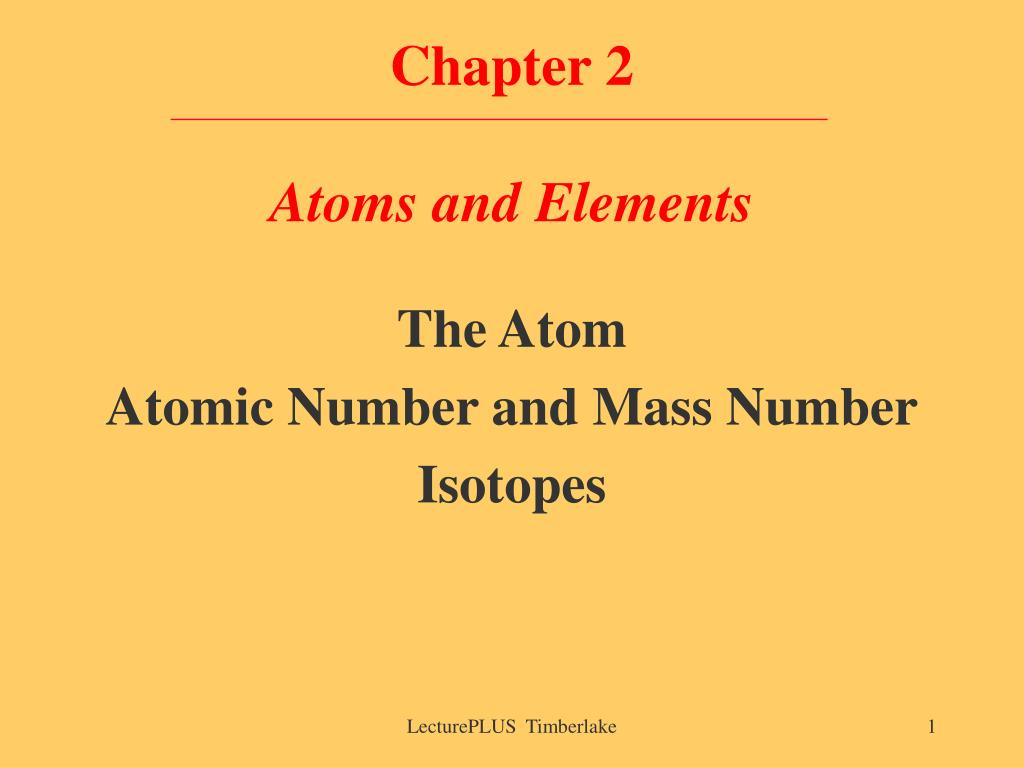chapter 2 atoms and elements l.
