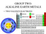 group two alkaline earth metals