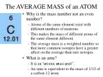 the average mass of an atom