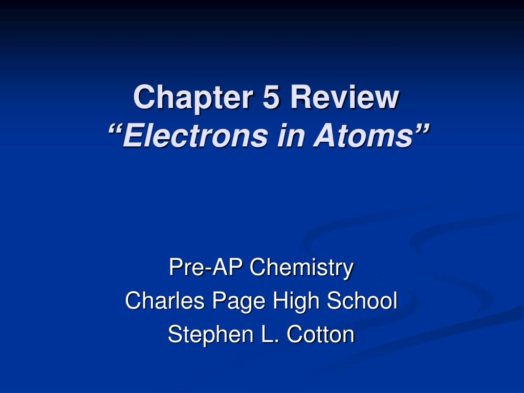 chapter 5 review electrons in atoms l.