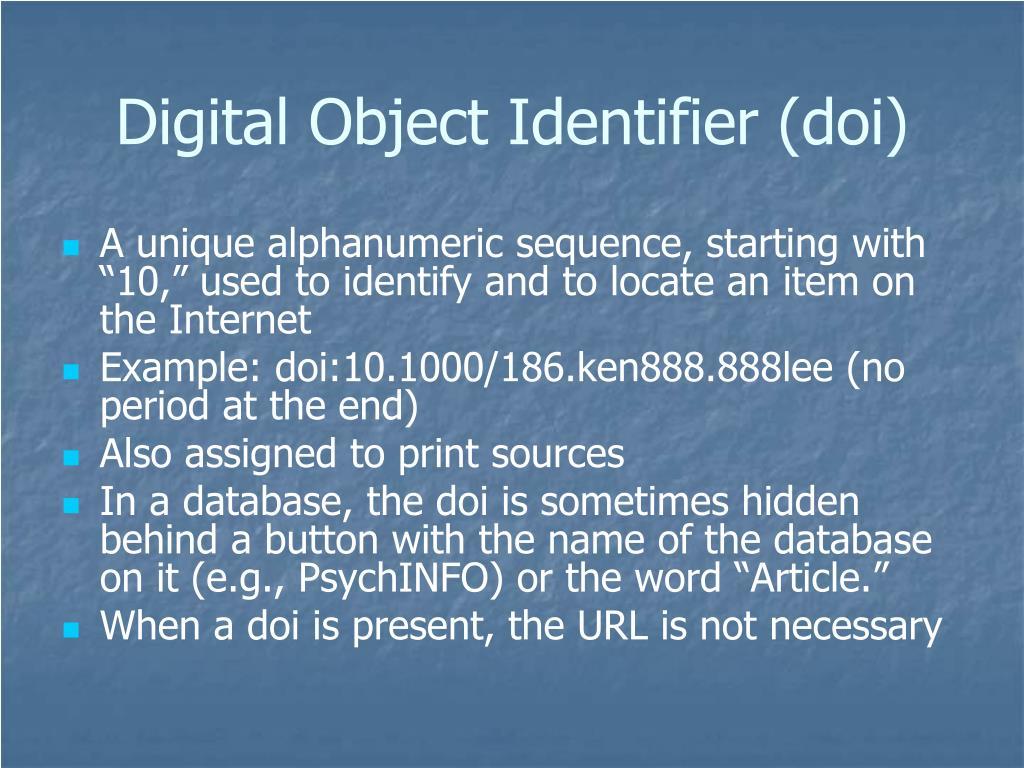 Digital Object Identifier (doi)