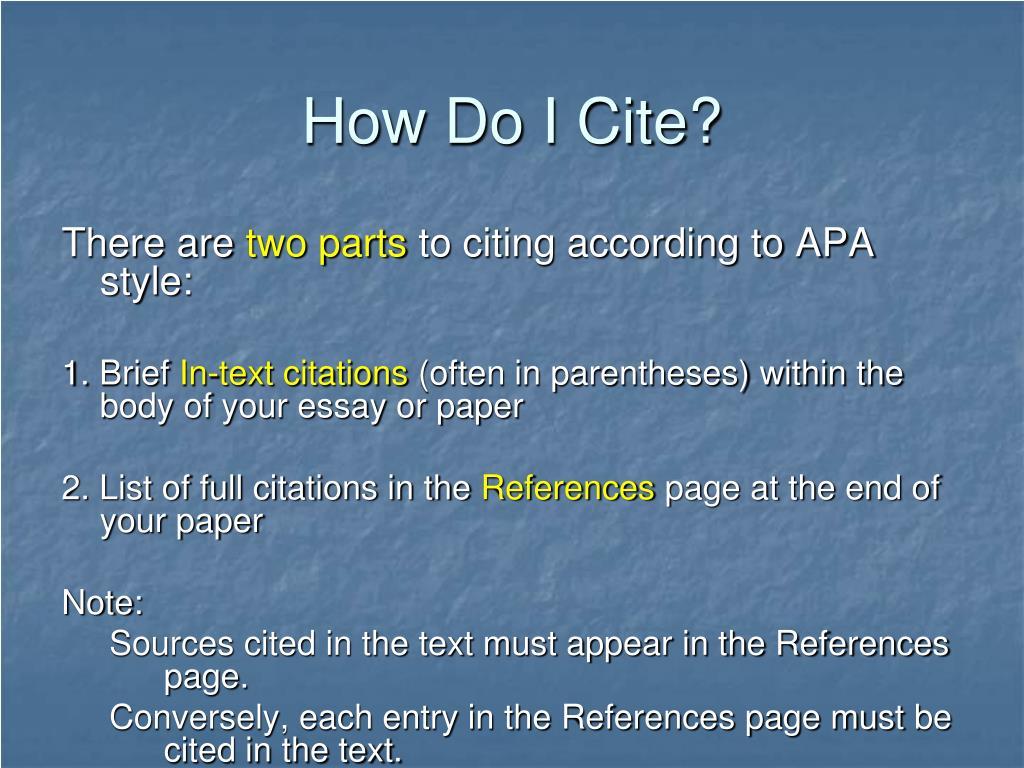 How Do I Cite?