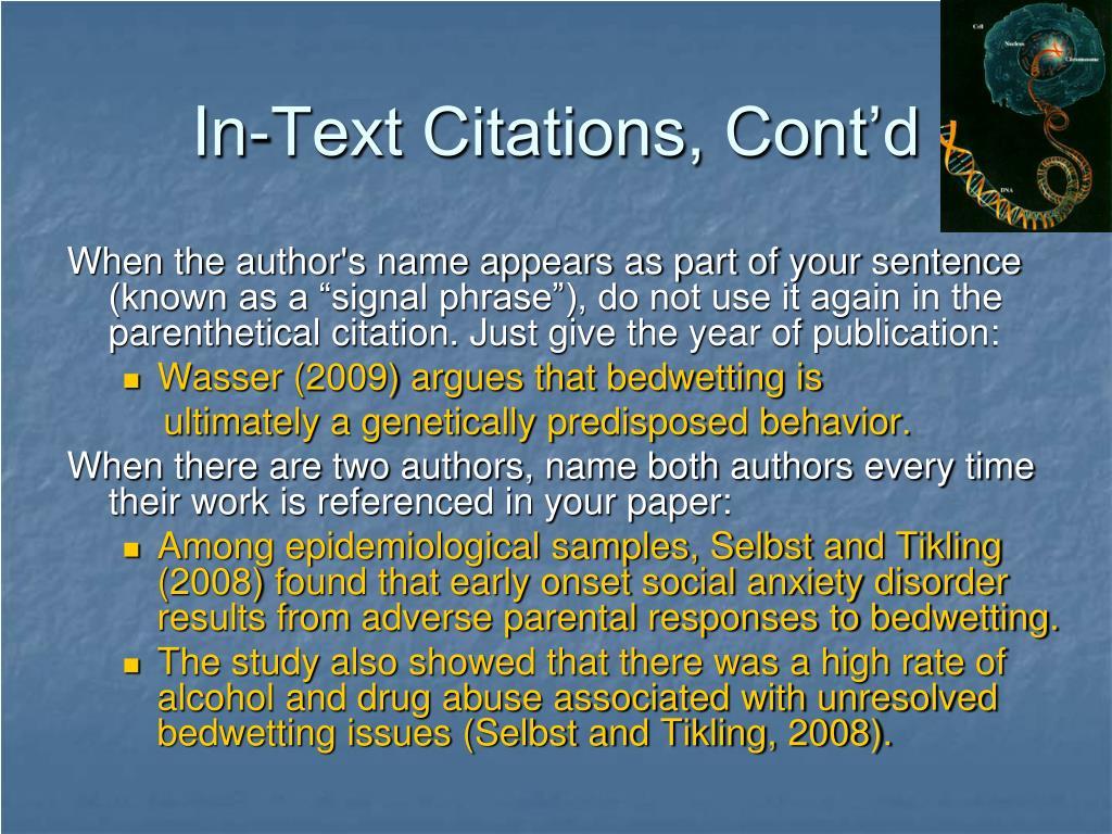 In-Text Citations, Cont'd