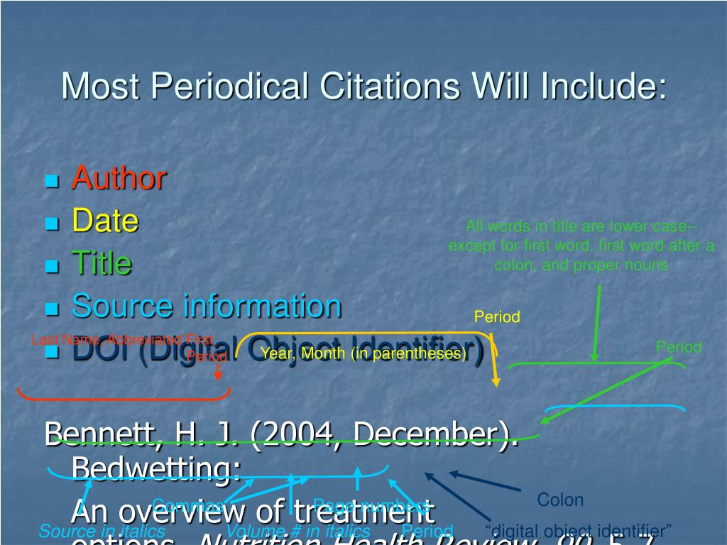 Most Periodical Citations Will Include: