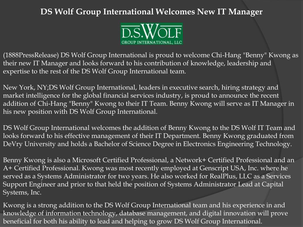 DS Wolf Group International Welcomes New IT Manager